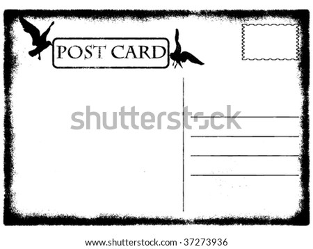 vector illustration of blank old grunge postcard with seagulls - stock vector