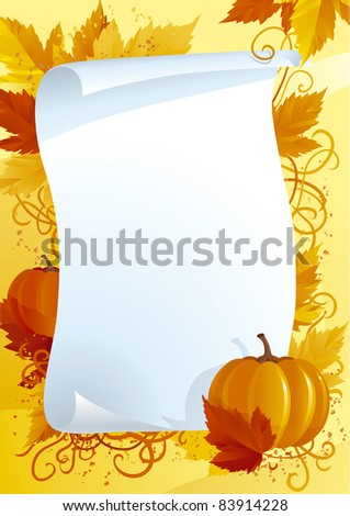 Vector illustration of  blank on background with autumn leaves and pumpkins - stock vector