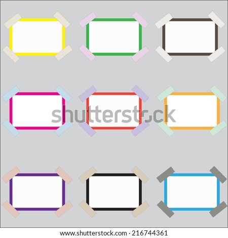 Vector illustration of blank  photo frame over soft background - stock vector