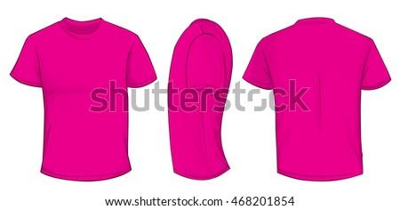 Vector Illustration Blank Pink Men Tshirt Stock Vector 468201854 ...