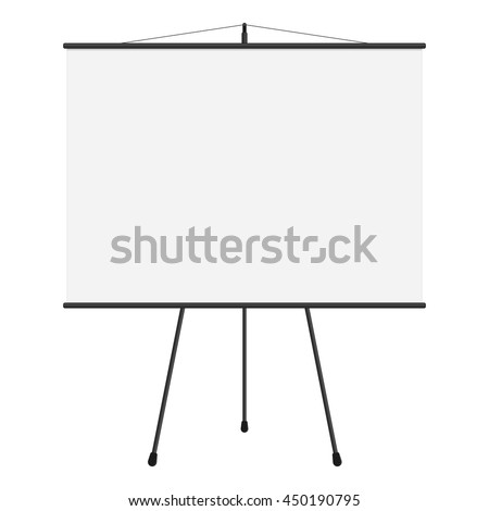 Vector illustration of blank projection big screen. Template of presentation big screen in flat style. Blank whiteboard, tripod projector for seminar.