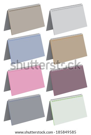 Vector illustration of blank spiral bound note pads in different colors. - stock vector