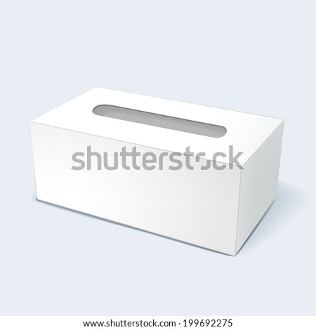 vector illustration of blank tissue box with soft shadow isolated on white background - stock vector