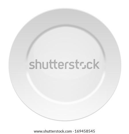 Vector illustration of blank white dinner plate - isolated on white background. - stock vector