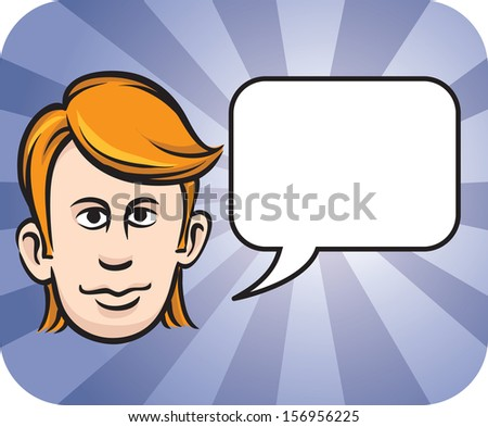 Vector illustration of blond face with speech bubble. Easy-edit layered vector EPS10 file scalable to any size without quality loss. High resolution raster JPG file is included. - stock vector
