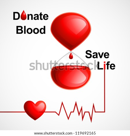vector illustration of blood donation concept with heart - stock vector