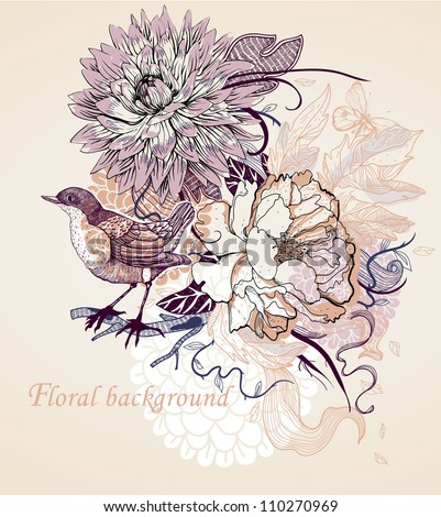 vector illustration of blooming flowers and a little bird
