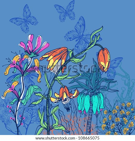 vector illustration of blooming flowers on a dark blue background - stock vector