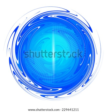 Vector illustration of blue abstract liquid round distortion ball isolated on white background - stock vector
