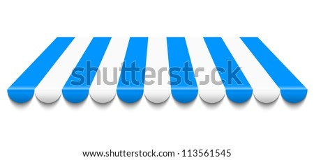 Vector illustration of blue and white awning - stock vector