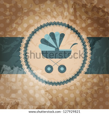 Vector illustration of blue baby carriage for newborn boy - stock vector