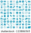 Vector illustration of blue business, media, internet, transportation icons. - stock vector
