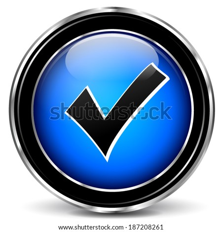 Vector illustration of blue check mark icon on white background