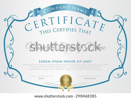 Vector illustration of blue detailed certificate. - stock vector