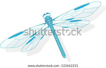 Vector illustration of blue dragonfly - stock vector