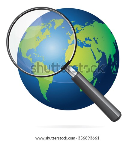 Vector illustration of blue earth with green continents world map and magnifying glass isolated on white - stock vector