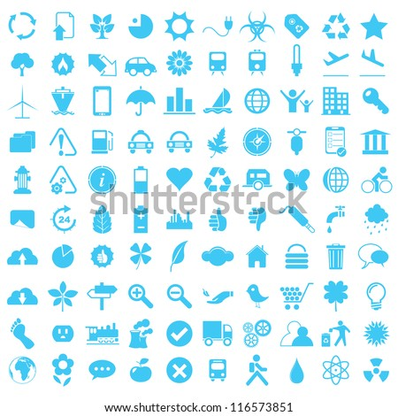 Vector illustration of blue eco and technology icons. - stock vector