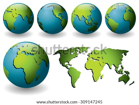 Vector illustration of blue globes with green continents