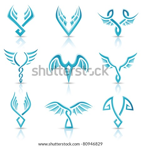 Vector illustration of blue glossy abstract wings - stock vector