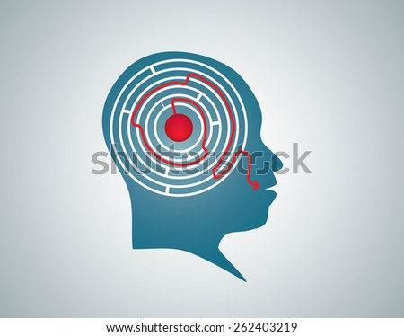 Vector illustration of blue head silhouette with white maze, labyrinth inside with red way, arrow line coming out of mouth. Think, find solution, solve problem and speak, say share concept, symbol. - stock vector