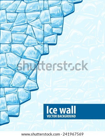 Vector illustration of blue ice ice wall background - stock vector