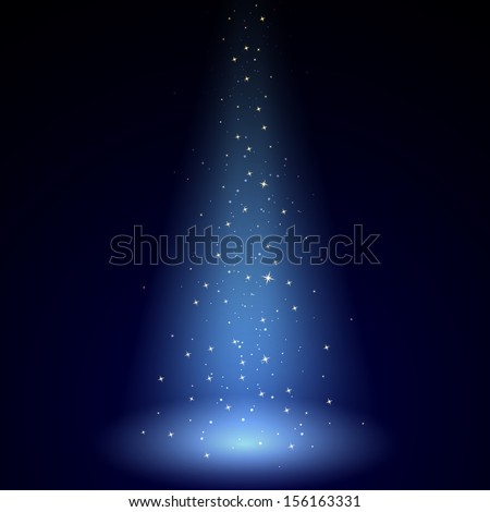 Vector Illustration of Blue Luminous Rays - stock vector