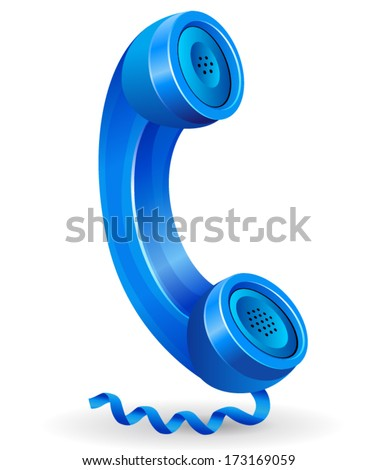 vector illustration of blue phone icon on white background - stock vector