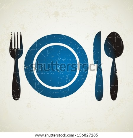 Vector illustration of blue restaurant menu symbol on light retro background