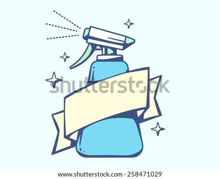 Vector illustration of blue spray pistol with ribbon on light background. Colorful line art design for web, site, advertising, banner, poster, board, poster and print. - stock vector