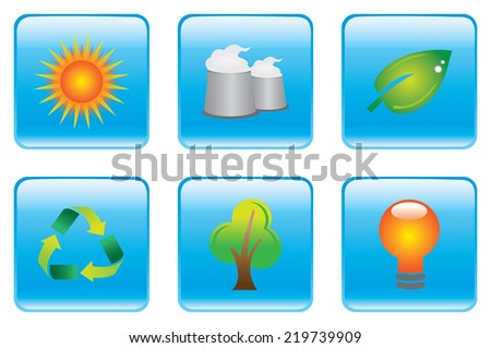 Vector illustration of blue square buttons with environmental conservation symbols. - stock vector