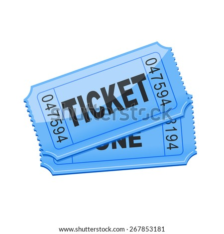 vector illustration of blue ticket - stock vector