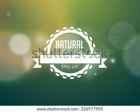Vector illustration of blured abstract background with badge. - stock vector