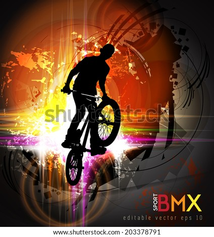 Vector illustration of BMX cyclist  - stock vector