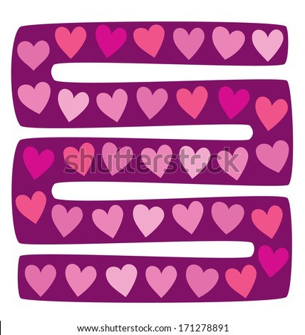 vector illustration of board game with hearts - stock vector