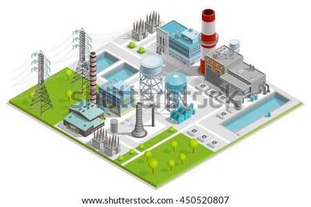 Vector illustration boiler factory production thermal stock vector vector illustration of boiler factory for production of thermal and electrical energy with power line supports sciox Image collections