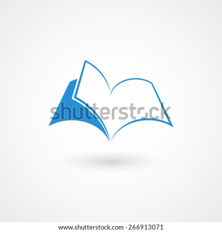 Vector illustration of book icon / logo. Isolated on white background, eps 10. - stock vector