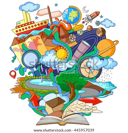 vector illustration of Book of Knowledge for Geography - stock vector