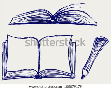 Vector illustration of books isolated on the white background - stock vector
