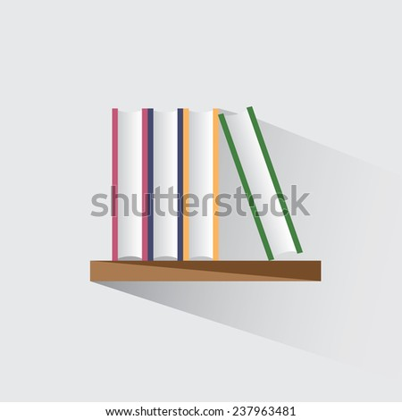 Vector illustration of books on the shelf - stock vector