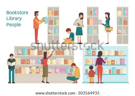 Vector illustration of bookstore, library, bookshelf, various character of people, diverse and multi-ethnic, adult and teenager,  and book. Flat design. Each layer separated, easy to use.  - stock vector
