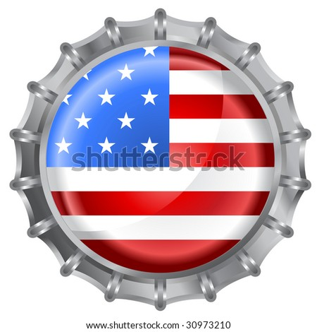 Vector illustration of bottle cap decorated with the american flag - stock vector