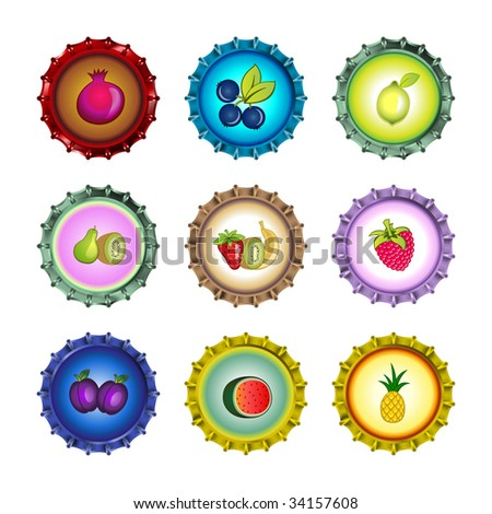 Vector illustration of bottle caps set, decorated with different fruits. - stock vector