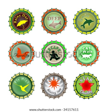Vector illustration of bottle caps set, decorated with different objects. - stock vector