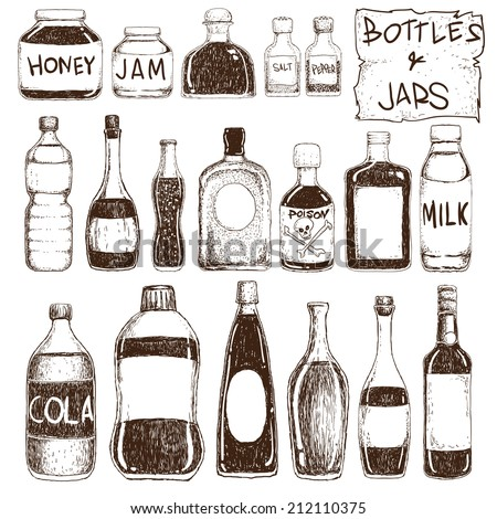 Vector illustration of bottles and jars in doodle style - stock vector