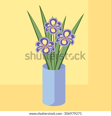 Vector illustration of bouquet of iris flowers. Card of purple abstract flowers with leaves in blue vase.  - stock vector