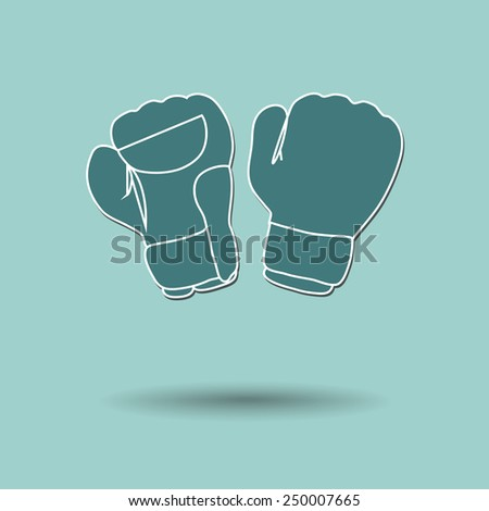 Vector illustration of  box boxing gloves color background. - stock vector