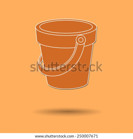 Vector illustration of  box bucket color background. - stock vector