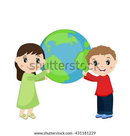 Vector illustration of boy and girl holding planet earth. White background. - stock vector
