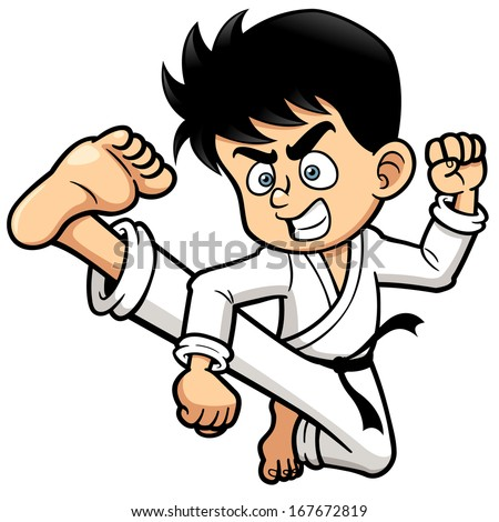 Vector illustration of Boy Karate kick - stock vector