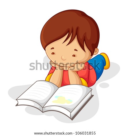 vector illustration of boy laying on floor reading book - stock vector